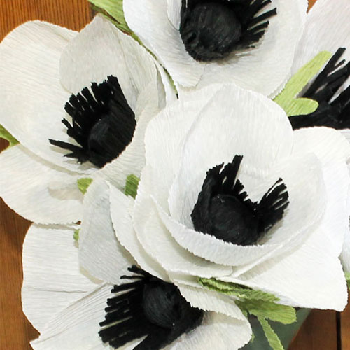 White Crepe Paper Flowers