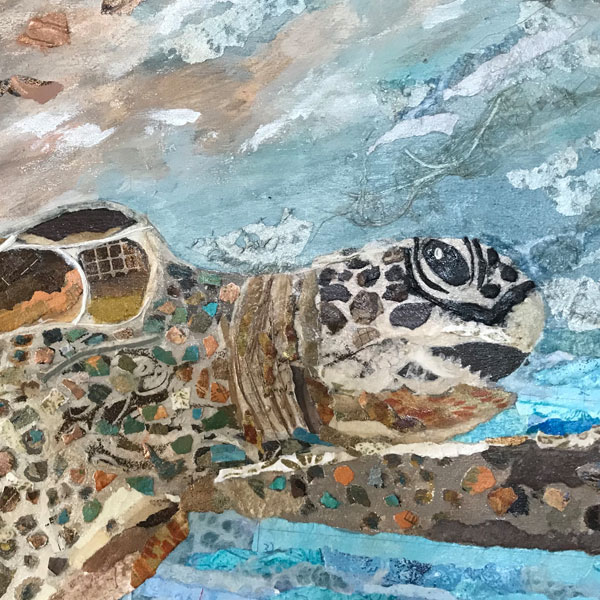 Torn Paper Collage Sea Turtle