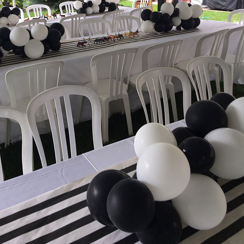 Black and White Table Runner Decoration