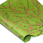 Silkscreened Nepalese Lokta Paper- BLOSSOM Pink on Green