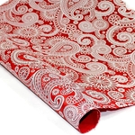 Silkscreened Nepalese Lokta Paper- PAISLEY White on Red