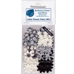 Handmade Mulberry Paper Flowers-Black, Gray and White