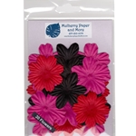 Flower Patch Mulberry Paper Flowers-Red, Black and Hot Pink
