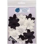 Handmade Mulberry Paper Flowers - Black and White