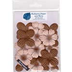 Flower Patch Mulberry Paper Flowers-Brown and Beige