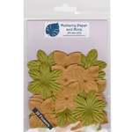 Flower Patch Mulberry Paper Flowers-Brown and Olive