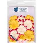 Flower Patch Mulberry Paper Flowers-Red, Cream and Yellow