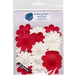 Flower Patch Mulberry Paper Flowers-Red and White
