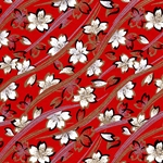 Red with White Blossom Japanese Chiyogami Yuzen Paper