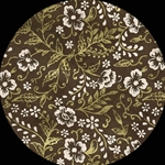 Nepalese Screenprinted Floral GOLD AND WHITE ON CHOCOLATE