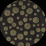 Screenprinted Lokta Paper - CIRCLES - Gold on Black