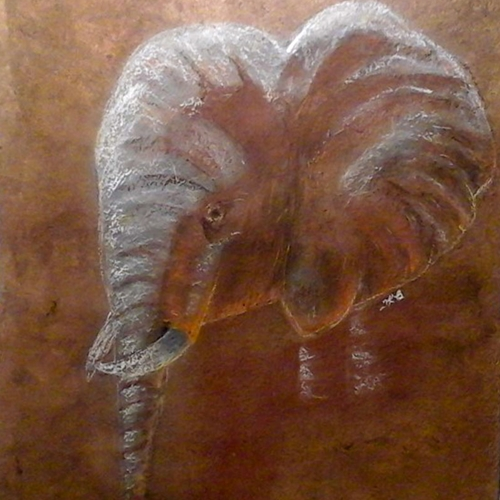 Pastel Elephant on Amate