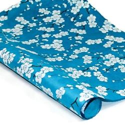 Silkscreened Nepalese Lokta Paper- BLOSSOM White on Blue