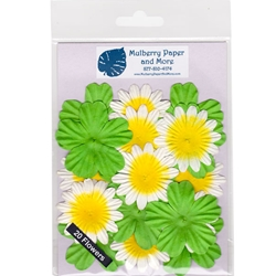 Flower Patch Mulberry Paper Flowers-Green, White and Yellow