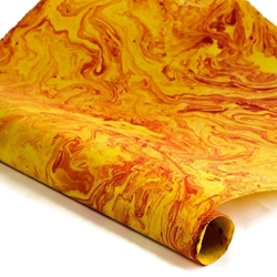 Marbled Nepalese Lokta Paper - RED/YELLOW