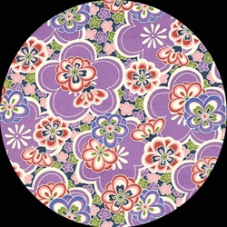 Japanese Chiyogami Yuzen Paper - PURPLE FLOWER BLOSSOMS