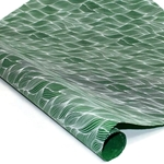 Silkscreened Nepalese Lokta Paper- WAVE- BWhite on Green
