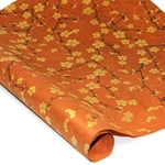 Silkscreened Nepalese Lokta Paper- BLOSSOM Gold on Brown