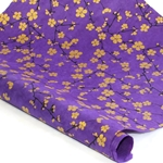 Silkscreened Nepalese Lokta Paper- BLOSSOM Gold on Purple