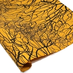 Silkscreened Nepalese Lokta Paper- TREE ROOT Black on Mustard