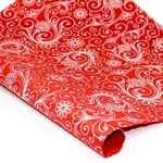 Silkscreened Nepalese Lokta Paper- SWIRLS White on red