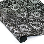 Silkscreened Nepalese Lokta Paper- SWIRLS White on Black
