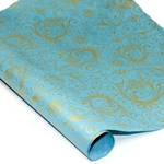 Silkscreened Nepalese Lokta Paper- SWIRLS Gold on Blue