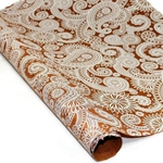 Silkscreened Nepalese Lokta Paper- PAISLEY White on Brown