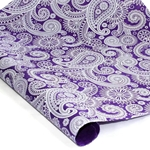 Silkscreened Nepalese Lokta Paper- PAISLEY White on Purple