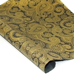Silkscreened Nepalese Lokta Paper- PAISLEY Gold on Black