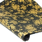 Silkscreened Nepalese Lokta Paper - LEAF Gold on Black