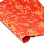 Silkscreened Nepalese Lokta Paper- LEAF Gold on Red