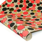 Metallic Foil Indian Cotton Rag Paper - CIRCLES - RED/GOLD/BLACK