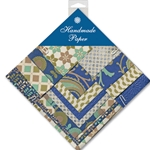 Handmade Indian Cotton Paper Pack - SMALL - NAVY, BEIGE, TURQUOISE
