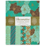Handmade Indian Cotton Paper Pack - SCREENPRINTED - COCOA AND TEAL