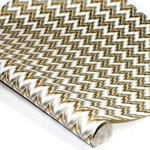 Screenprinted Indian Banana Leaf Paper - METALLIC CHEVRON - TAN/GOLD/SILVER