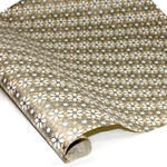 Screenprinted Indian Banana Leaf Paper - METALLIC FLOWERS - TAN/GOLD/SILVER