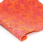 Metallic Screenprinted Indian Cotton Rag Paper - PAISLEY - ORANGE/PINK/GOLD