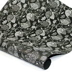 Metallic Screenprinted Indian Cotton Rag Paper - LEAF - BLACK/SILVER