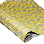 Metallic Screenprinted Indian Cotton Rag Paper - BLOSSOMS - YELLOW/GREY/SILVER