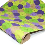 Metallic Screenprinted Indian Cotton Rag Paper - FLORAL - PURPLE/GREEN/YELLOW/GOLD