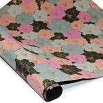 Metallic Screenprinted Indian Cotton Rag Paper - FLORAL - BLUE/BLACK/PINK/GOLD