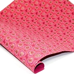 Metallic Screenprinted Indian Cotton Rag Paper - HEARTS - RED/PINK/GOLD