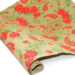 Metallic Screenprinted Indian Cotton Rag Paper - FLORAL PAISLEY - RED/GREEN/GOLD