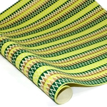 Metallic Screenprinted Indian Cotton Rag Paper - ZIG ZAG - GREEN/YELLOW/GOLD