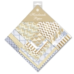 Handmade Indian Cotton Paper Pack - SMALL - BEIGE, WHITE, GOLD