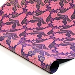 Metallic Screenprinted Indian Cotton Rag Paper - PAISLEY BLOSSOM - PURPLE/PINK