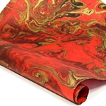 Marbled Nepalese Lokta Paper - RED/BLACK/GOLD