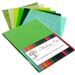 "Unryu Mulberry Paper Pack in 6 Green Colors (24 Sheets of 8.5"" x 11"" Paper)"