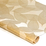 Screenprinted Mulberry Paper - Golden Leaves - CREAM